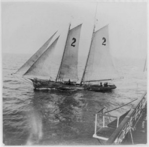 Pilot schooner working the bar, 1920.