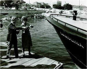 Christening of the 55-foot pilot boat CAROLINA by pilot E. Randall Swan, Jr. and Petesy Hollings, wife of Senator Fritz Hollings.  1980.