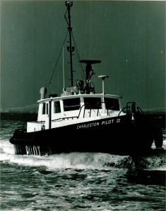 A view of the original CHARLESTON PILOT II, steel hulled boat, in 1980.