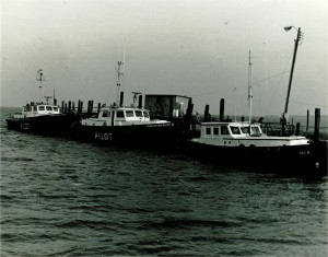View of the pilot boat fleet at Adger's Wharf, 1970.