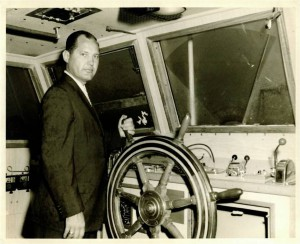 Captain J. Jervey Lockwood aboard the original CHARLESTON PILOT, 1960